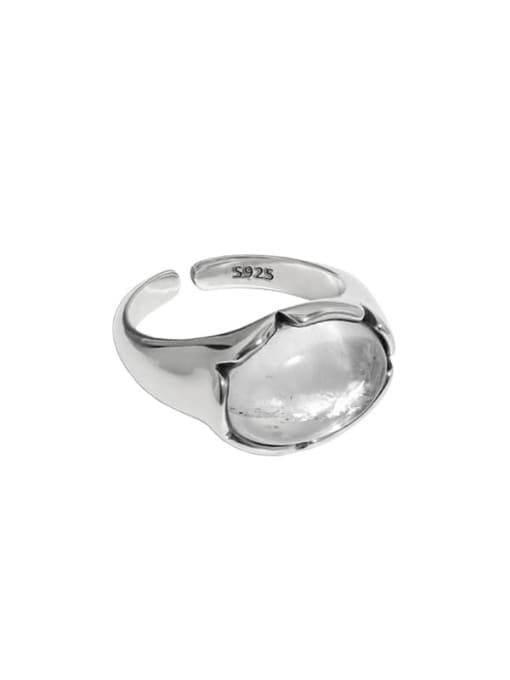 Retro silver [11 adjustable] 925 Sterling Silver Crystal Irregular Vintage Band Ring